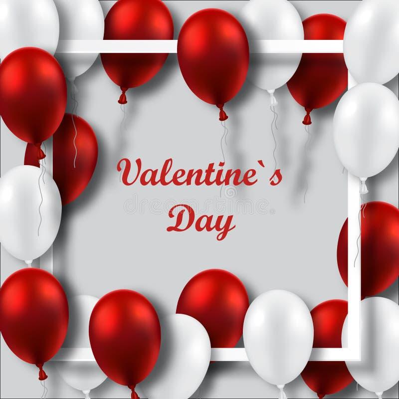 Affiche de jour du ` s de Valentine avec les ballons rouges et blancs sur le cadre illustration stock