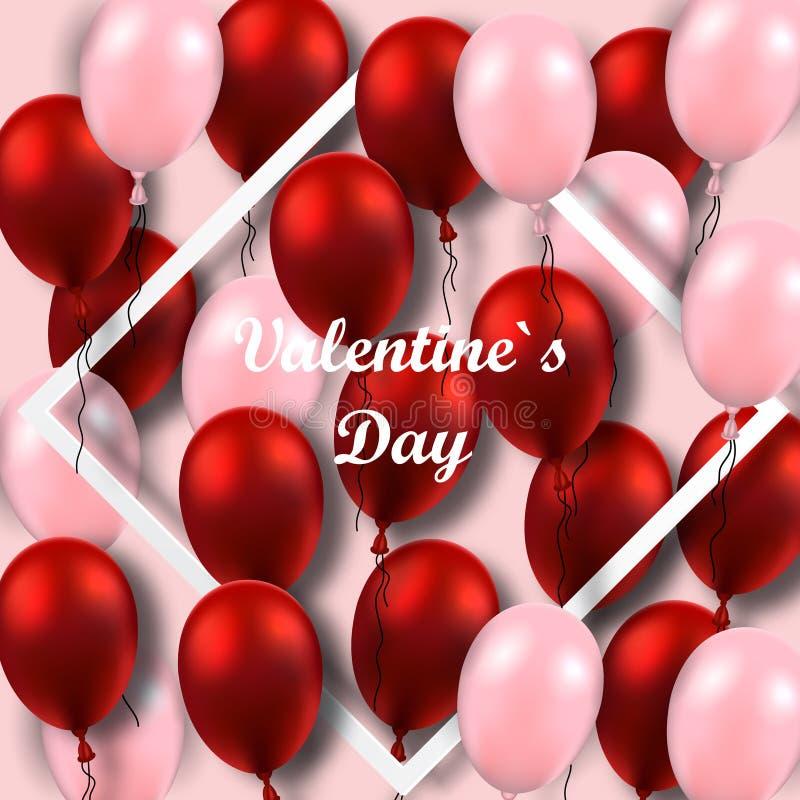 Affiche de jour du ` s de Valentine avec les ballons rouges sur le cadre illustration libre de droits