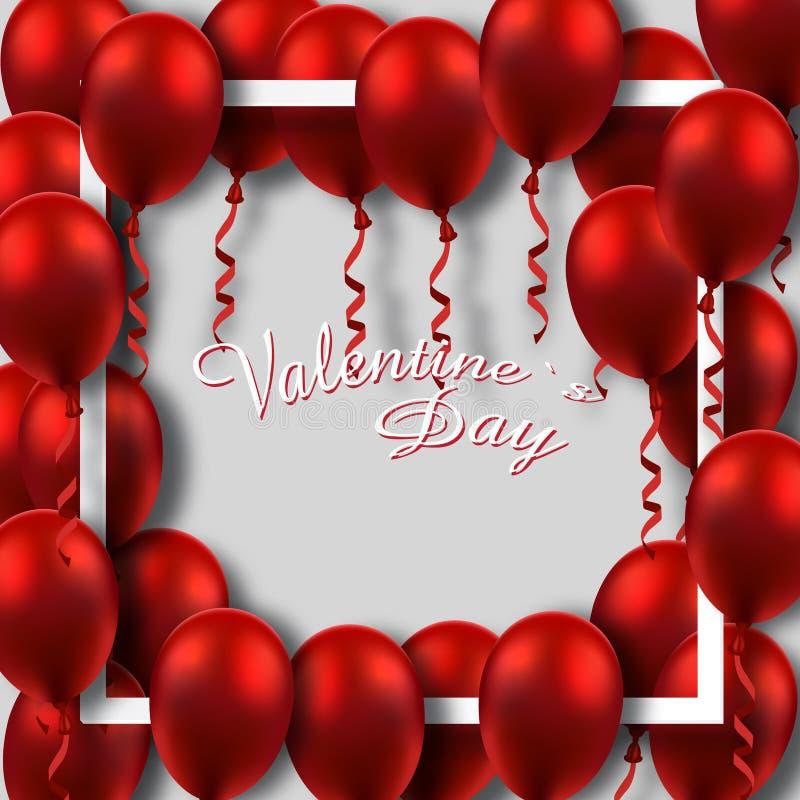 Affiche de jour du ` s de Valentine avec les ballons rouges sur le cadre illustration stock
