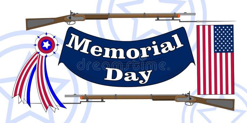 Affiche de Jour du Souvenir Banni?re patriotique de vacances avec le drapeau, attributs de v?t?ran comme signes et munitions mili illustration libre de droits