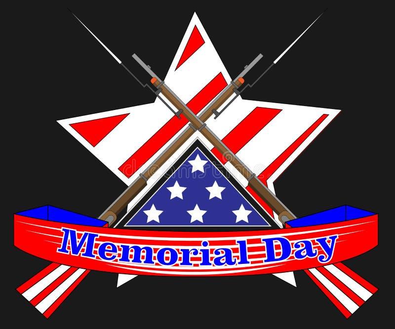 Affiche de Jour du Souvenir Banni?re patriotique de vacances avec le drapeau, attributs de v?t?ran comme signes et munitions mili illustration stock