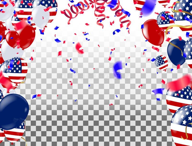 Affiche de Jour de la Déclaration d'Indépendance des Etats-Unis avec des ballons à air et avec une guirlande illustration libre de droits