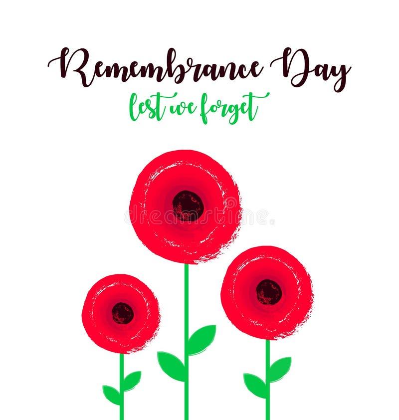 Affiche de jour de souvenir avec des fleurs de pavot De peur que nous oubliions le lettrage illustration stock