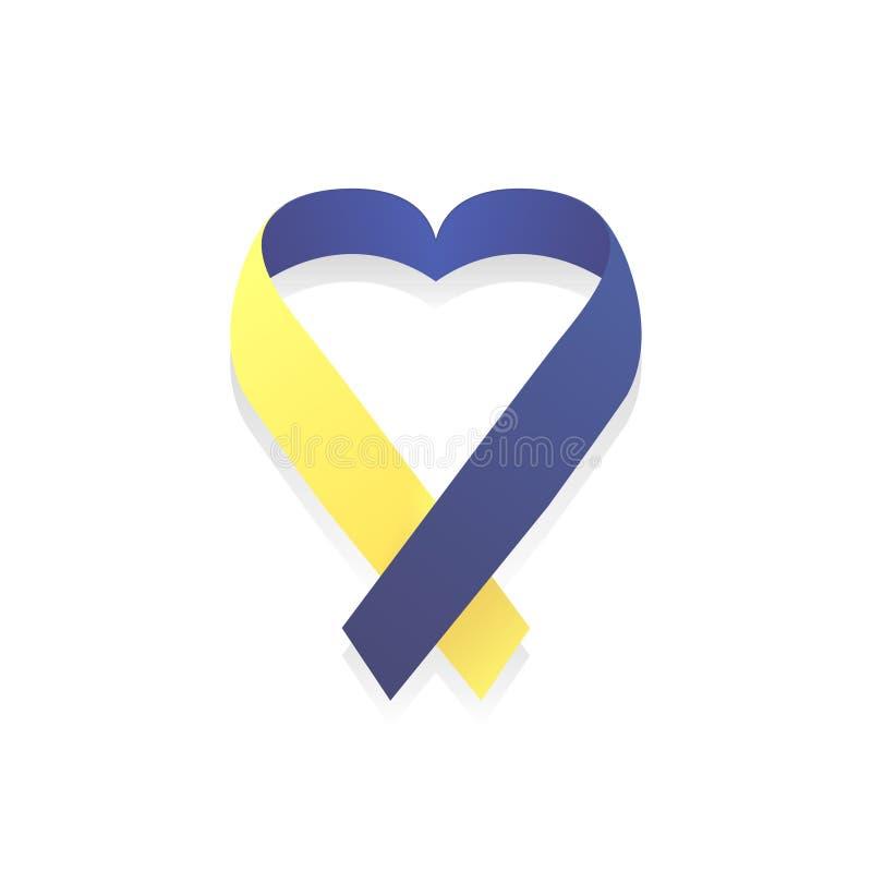 Affiche de jour de trisomie 21 du monde, jaune et bleu, vecteur illustration stock