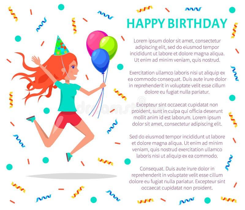 Affiche de joyeux anniversaire, adolescente dans le chapeau de fête illustration stock