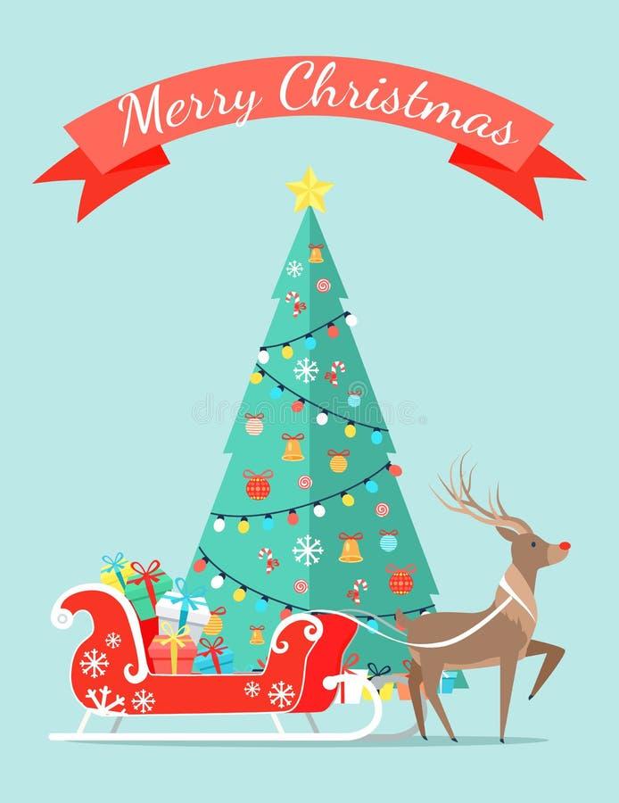 Affiche de Joyeux Noël avec l'arbre décoré par des guirlandes illustration libre de droits
