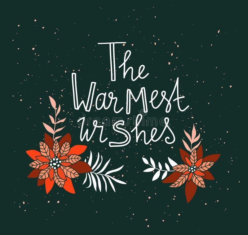 Affiche de Joyeux Noël Illustration de vacances de vecteur avec des fleurs de label et de poinsettia de lettrage illustration de vecteur