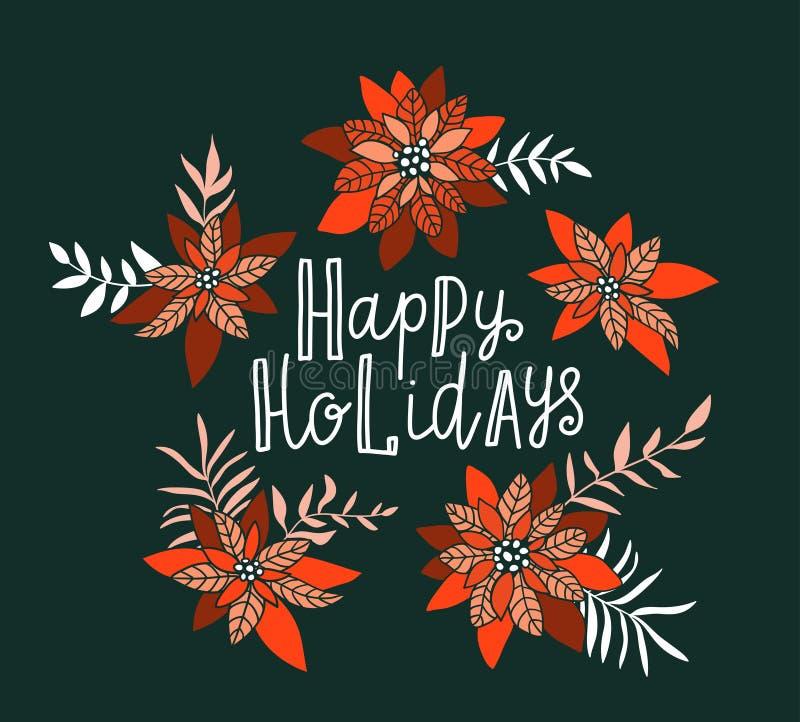 Affiche de Joyeux Noël Illustration de vacances de vecteur avec des fleurs de label et de poinsettia de lettrage illustration stock