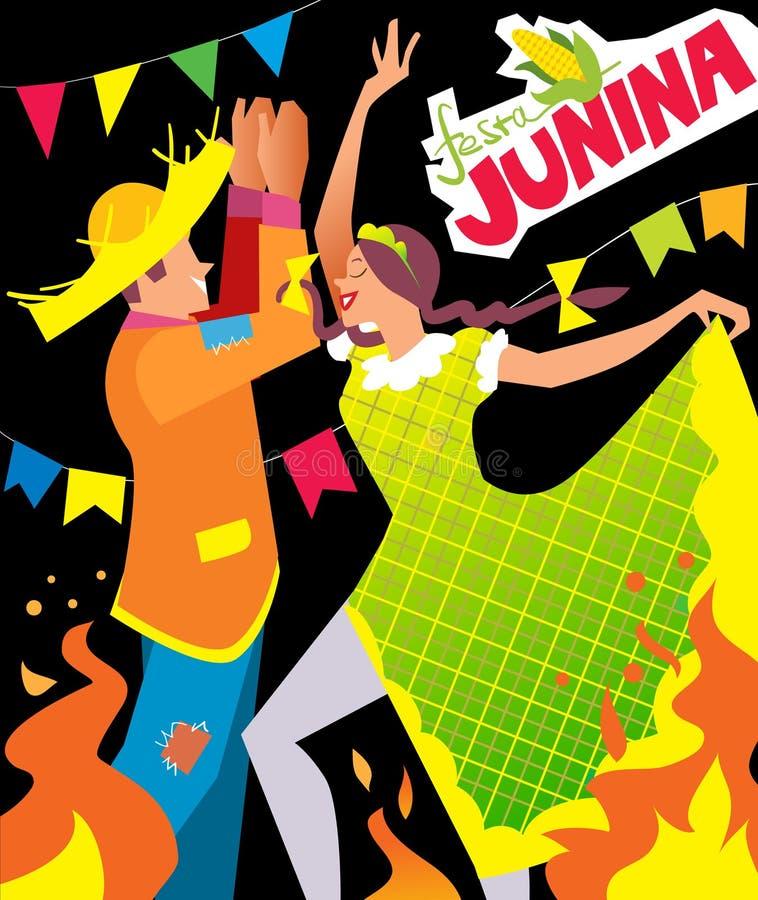 Affiche de junina de Festa illustration stock