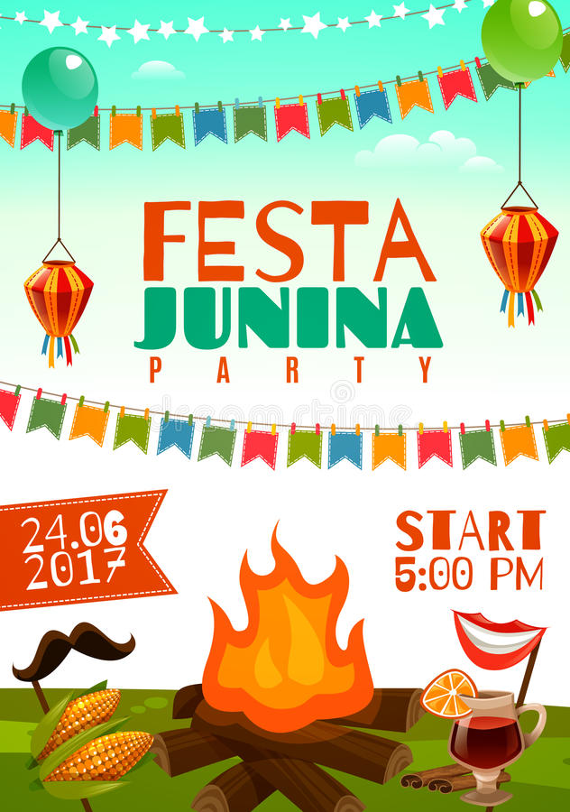 Affiche de junina de Festa illustration de vecteur