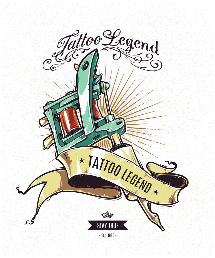 Affiche de légende de tatouage illustration stock