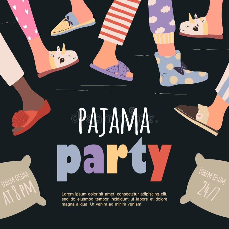Affiche de la fête du pyjama en couleur Modèle vectoriel Partie Stwood photo stock