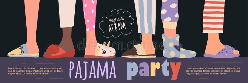 Affiche de la fête du pyjama en couleur Modèle vectoriel Partie Stwood images stock