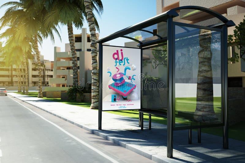 affiche de la publicité de fest du DJ d'arrêt d'autobus sur la rue illustration de vecteur