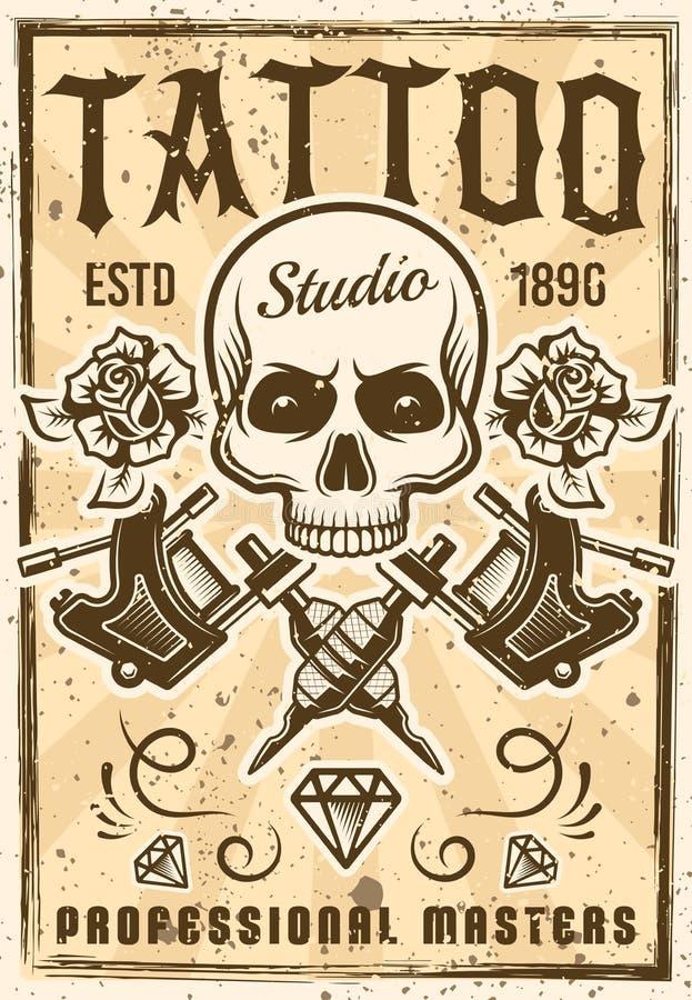 Affiche de la publicité de studio de tatouage dans le style de vintage illustration stock