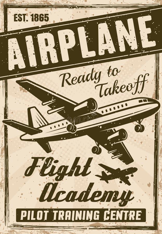 Affiche de la publicité de vintage de vecteur d'académie de vol illustration de vecteur