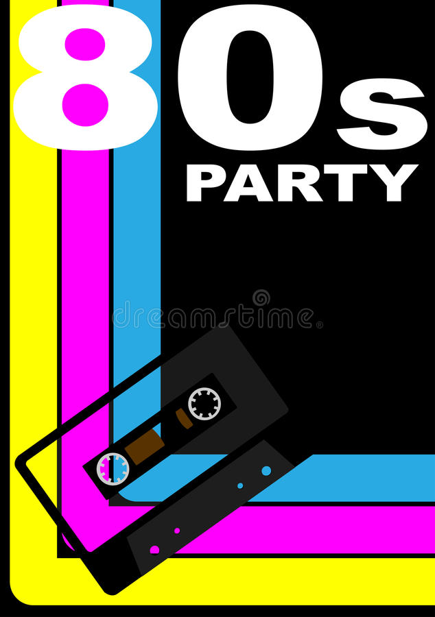 affiche de la réception 80s illustration libre de droits