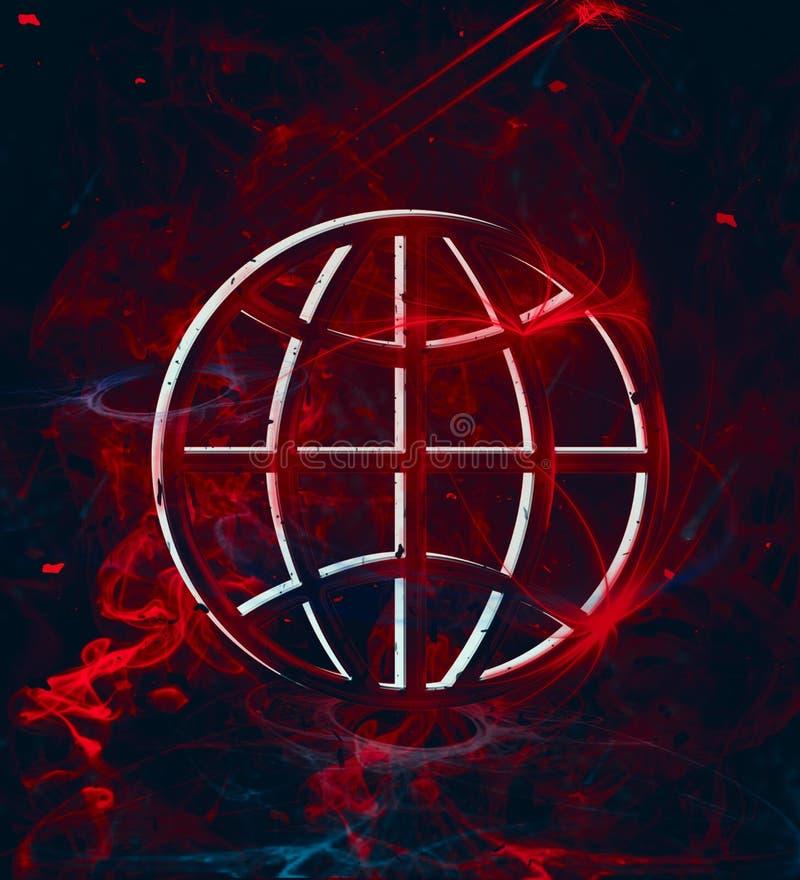 Affiche de la terre d'un rouge ardent de planète illustration de vecteur