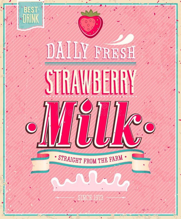 Affiche de lait de fraise de vintage. Illustratio de vecteur illustration stock