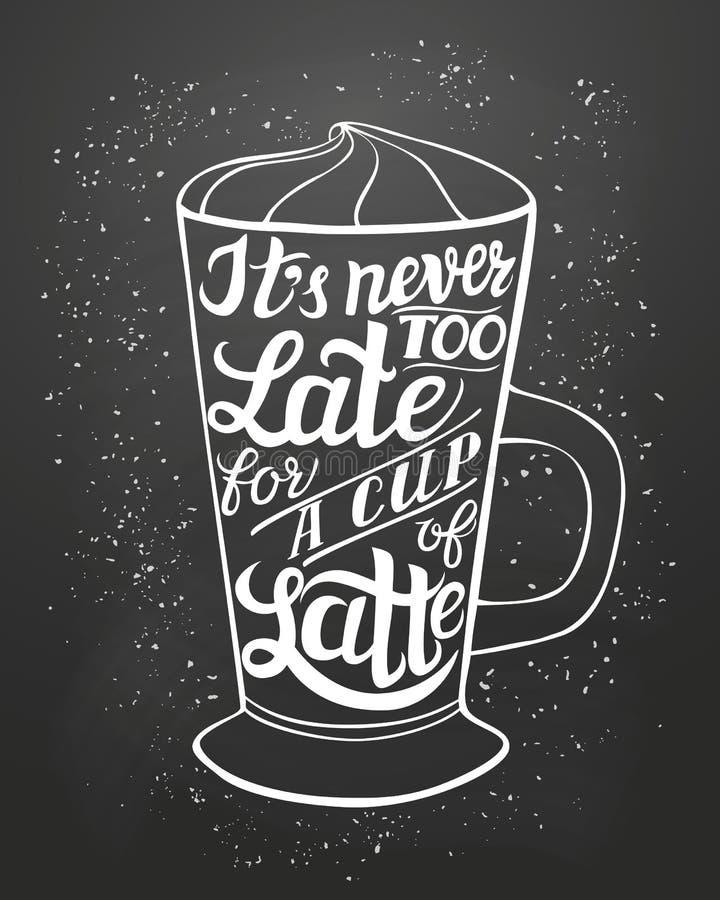Affiche de Latte de typographie de lettrage de main illustration libre de droits