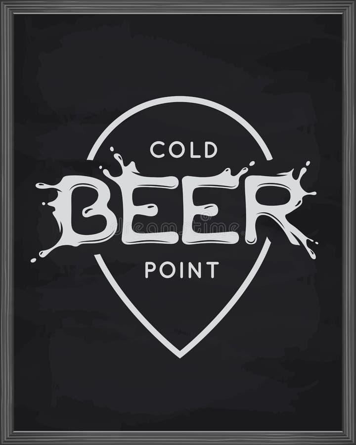 Affiche de lettrage de point de bière Emblème de bar sur le fond de tableau Illustration de vintage de vecteur illustration stock