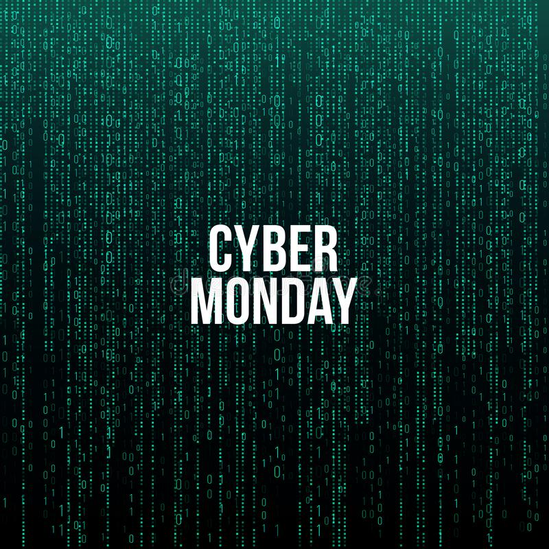 Affiche de lundi de Cyber Texte blanc sur le fond vert de code informatique, illustration de vecteur illustration de vecteur