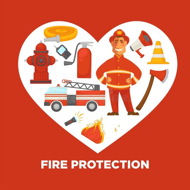 Affiche de lutte contre l'incendie et de lutte anti-incendie de s'éteindre des outils d'équipement illustration libre de droits