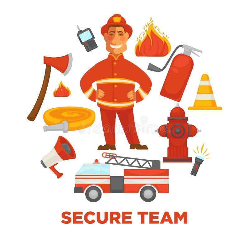 Affiche de lutte contre l'incendie et de lutte anti-incendie de s'éteindre des outils d'équipement illustration de vecteur