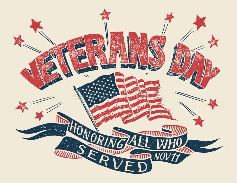 Affiche de main-lettrage de jour de vétérans illustration stock