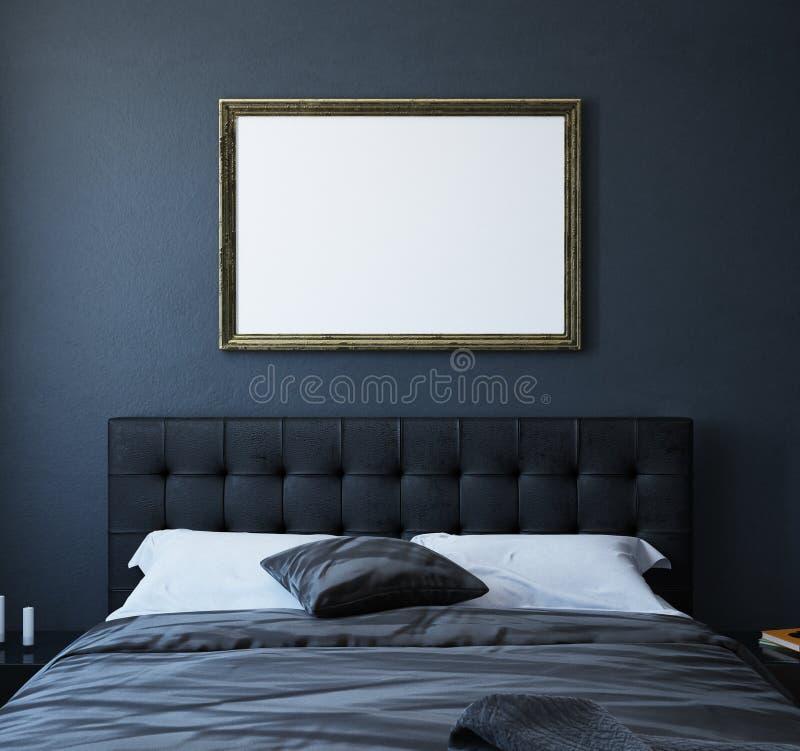 Affiche de maquette dans la chambre à coucher de luxe foncée intérieure, style classique illustration stock