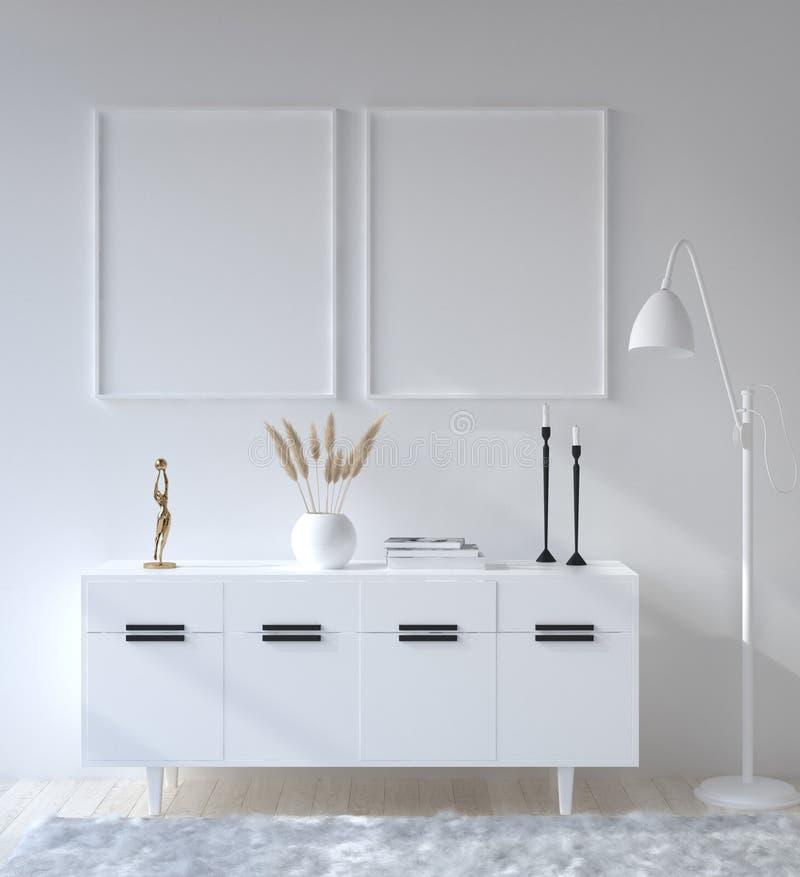 Affiche de maquette dans le salon, style scandinave photographie stock