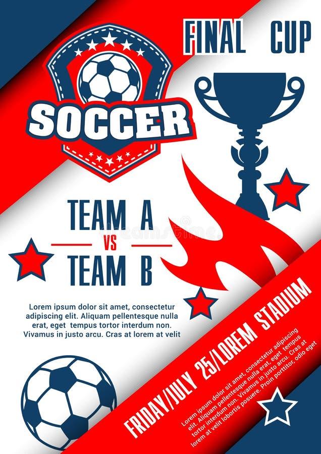 Affiche de match de championnat du football de tasse du football illustration stock