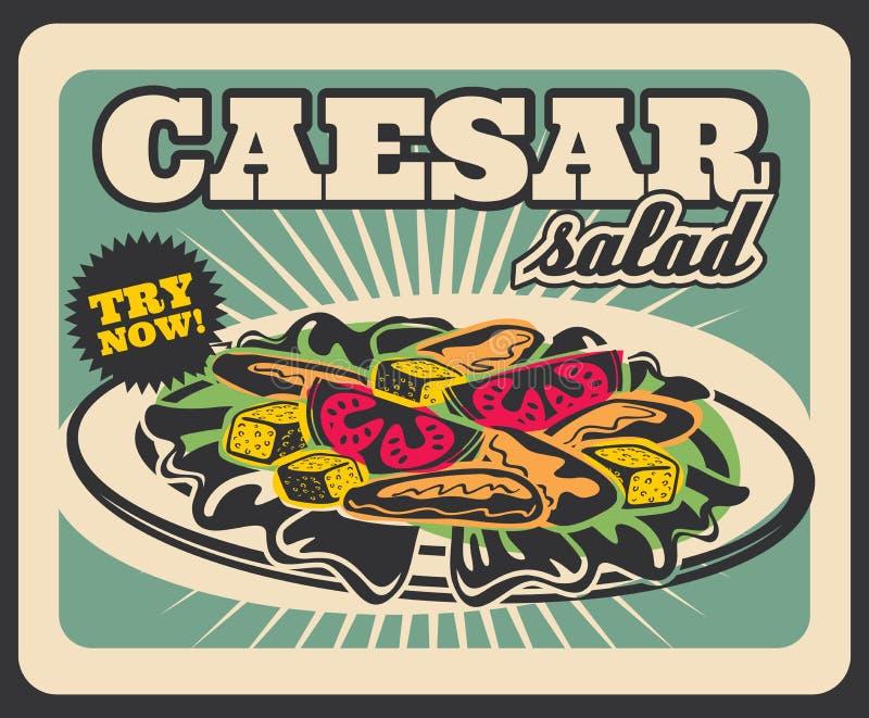 Affiche de menu de restaurant de prêt-à-manger de salade de César rétro illustration libre de droits