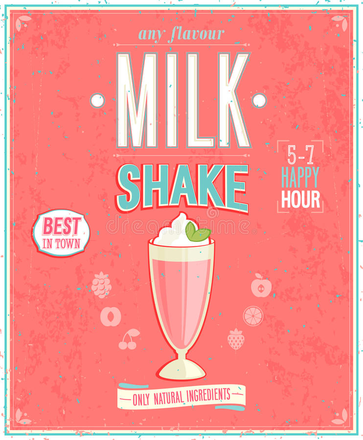 Affiche de milkshake de vintage illustration stock