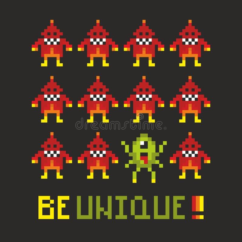 Affiche de motivation avec des monstres de pixel illustration de vecteur