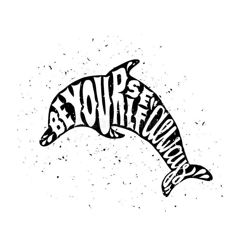 Affiche de motivation avec le dauphin illustration de vecteur