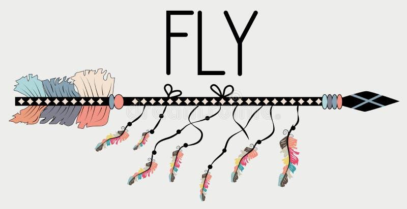 Affiche de motivation dans la mouche de style de Boho Flèche et lettrage illustration de vecteur