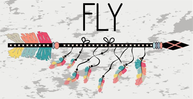 Affiche de motivation dans la mouche de style de Boho Flèche et lettrage illustration libre de droits