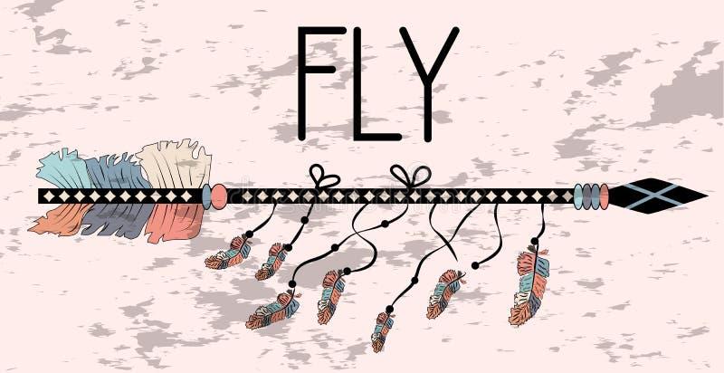 Affiche de motivation dans la mouche de style de Boho Flèche et lettrage illustration stock