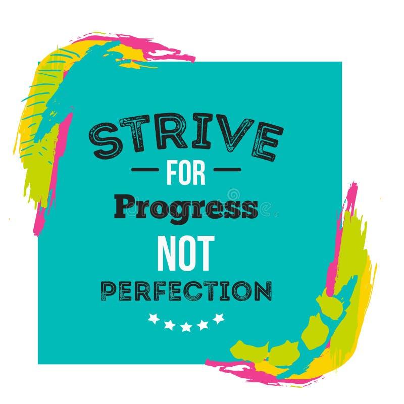 Affiche de motivation de citation au sujet de progrès sur le fond lumineux avec les taches colorées Conception créative pour le m illustration de vecteur