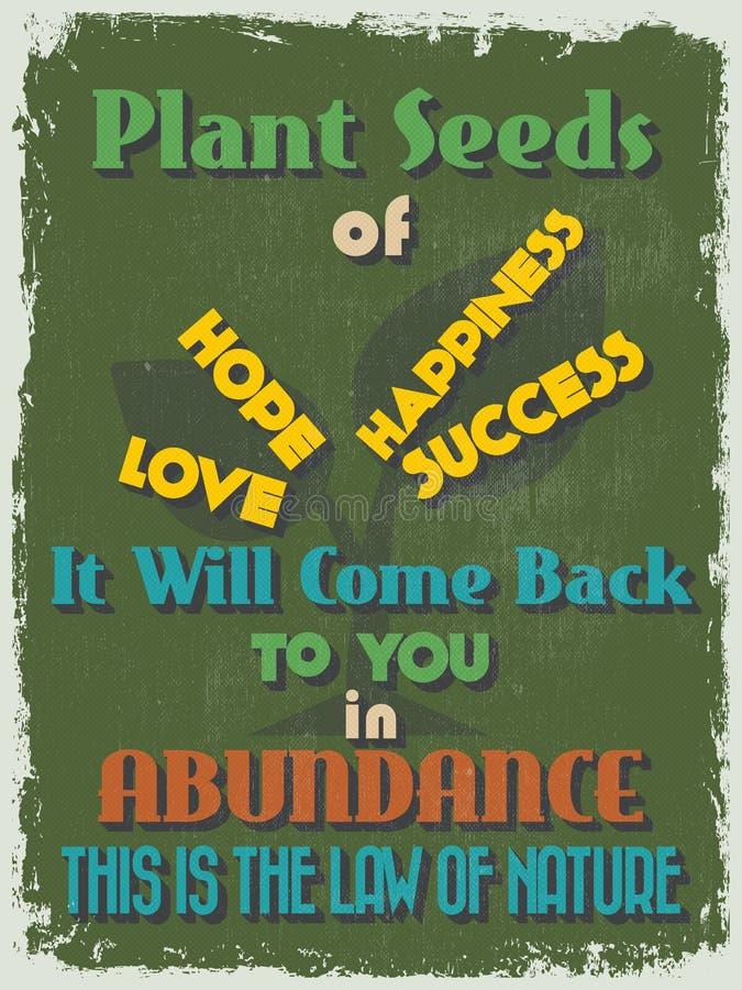Affiche de motivation de citation de rétro vintage Illustration de vecteur illustration de vecteur