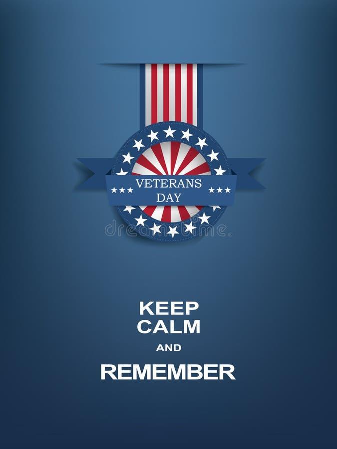 Affiche de motivation de jour de vétérans avec l'insigne de médaille illustration libre de droits
