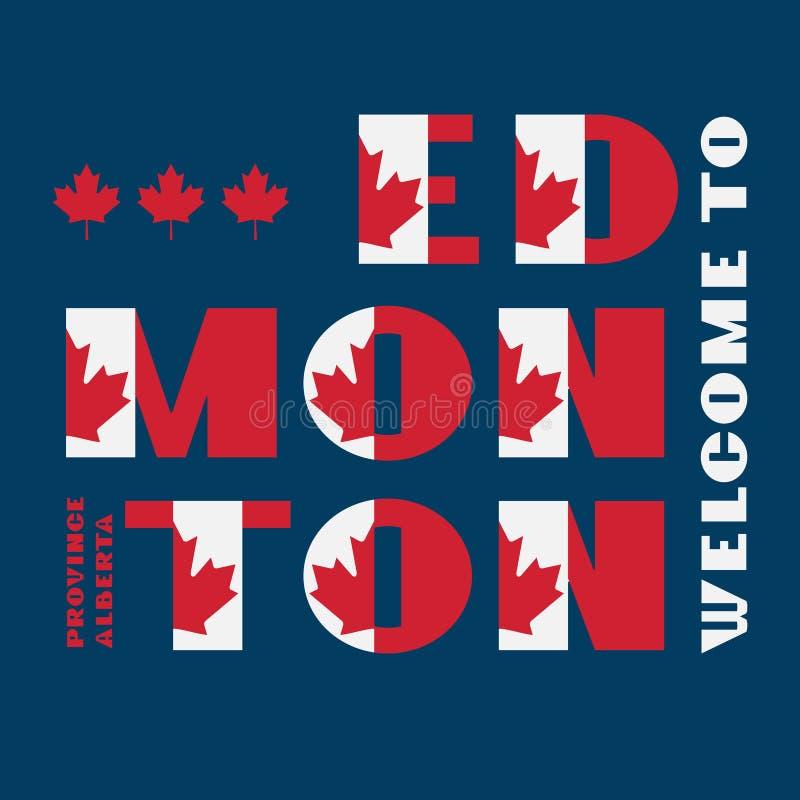 Affiche de motivation de style de drapeau du Canada avec l'accueil Edmonton, Alberta des textes Typographie moderne pour le graph illustration stock