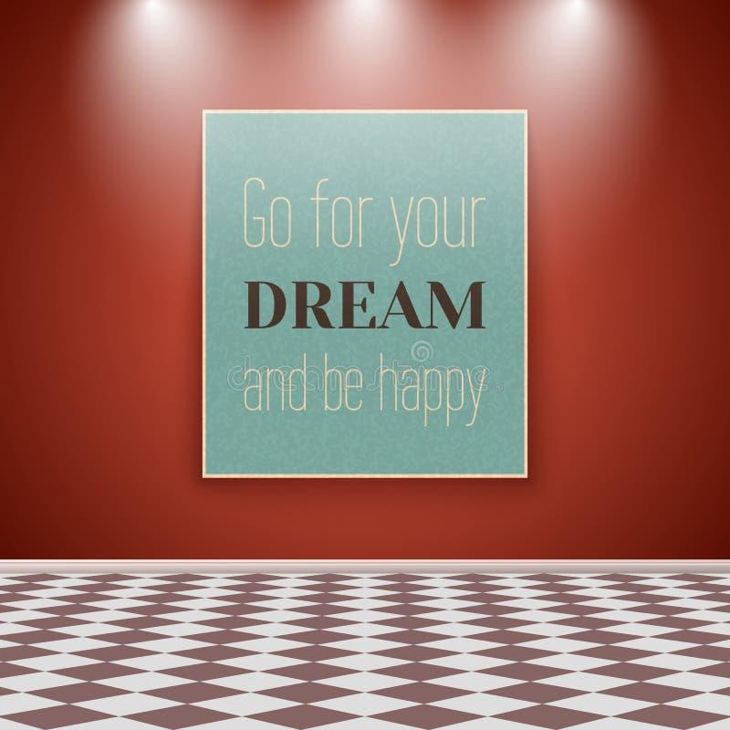 Affiche de motivation sur le mur dans la chambre avec le plancher carrelé illustration de vecteur
