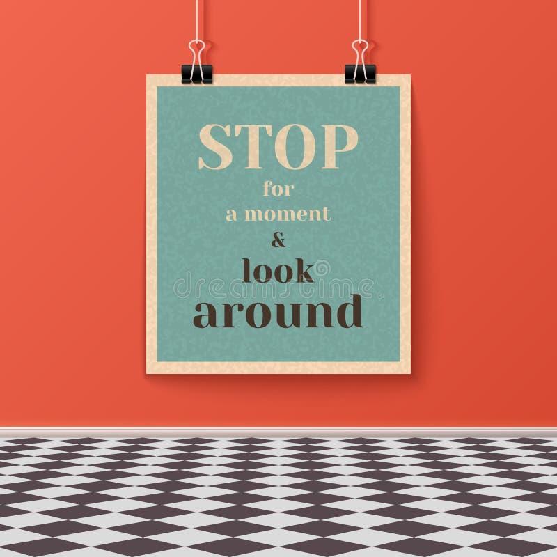 Affiche de motivation sur le mur dans la chambre avec le plancher carrelé illustration libre de droits