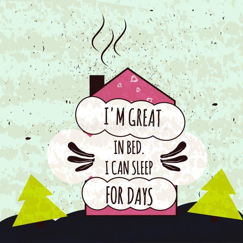 Affiche de motivation typographique colorée au sujet de l'amour au lit et pour dormir solidement sur un beau fond Vecteur illustration libre de droits