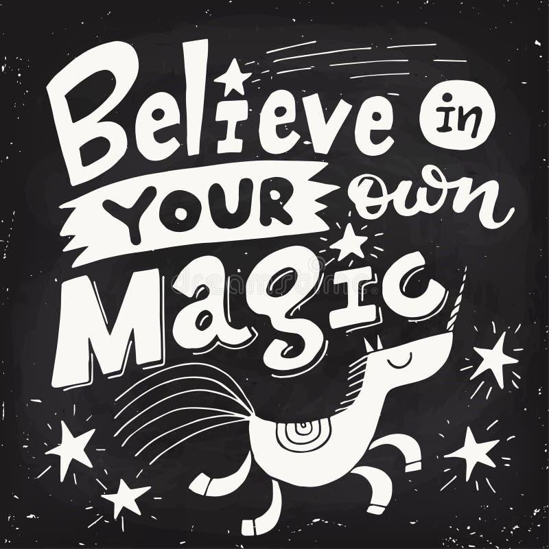 Affiche de motivation de vecteur avec la licorne mignonne et marquer avec des lettres la conception de tableau noir illustration stock