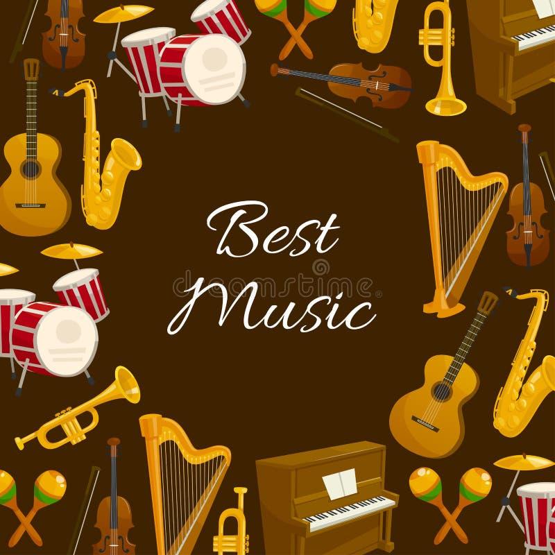 Affiche de musique avec le cadre rond d'instrument de musique illustration stock
