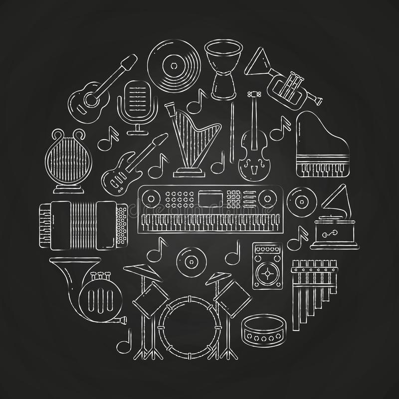Affiche de musique de vecteur de dessin de craie avec des instruments de musique sur le tableau noir illustration libre de droits