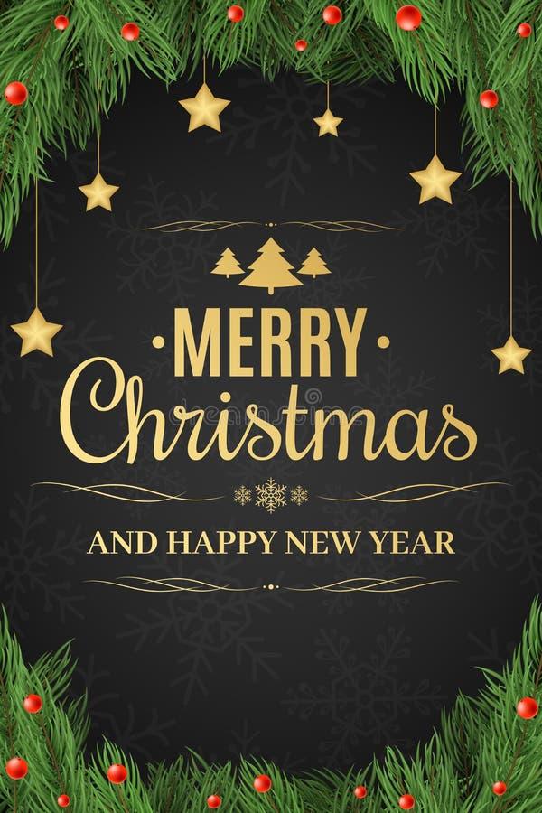 Affiche de Noël Arbre de Noël, baies de neige Le coup d'or d'étoiles An neuf heureux Texte d'or sur un fond foncé illustration de vecteur